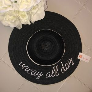 Accessories - NWT Vacay All Day Summer hat straw black white